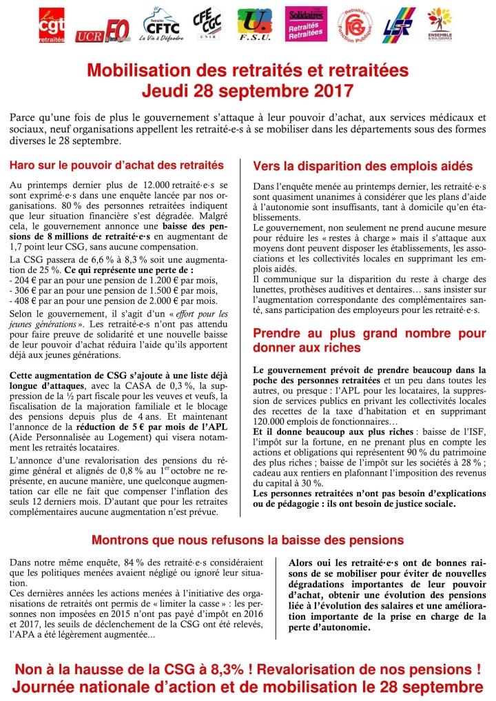 mobilisation retraités 28 sept 2017 lille