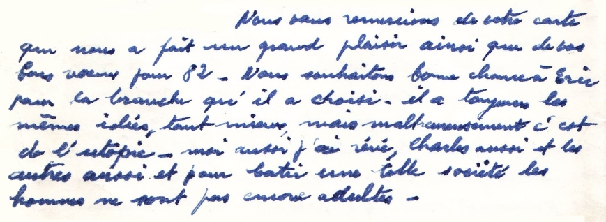 extrait d'un courrier envoyé à ma grand-mère paternelle