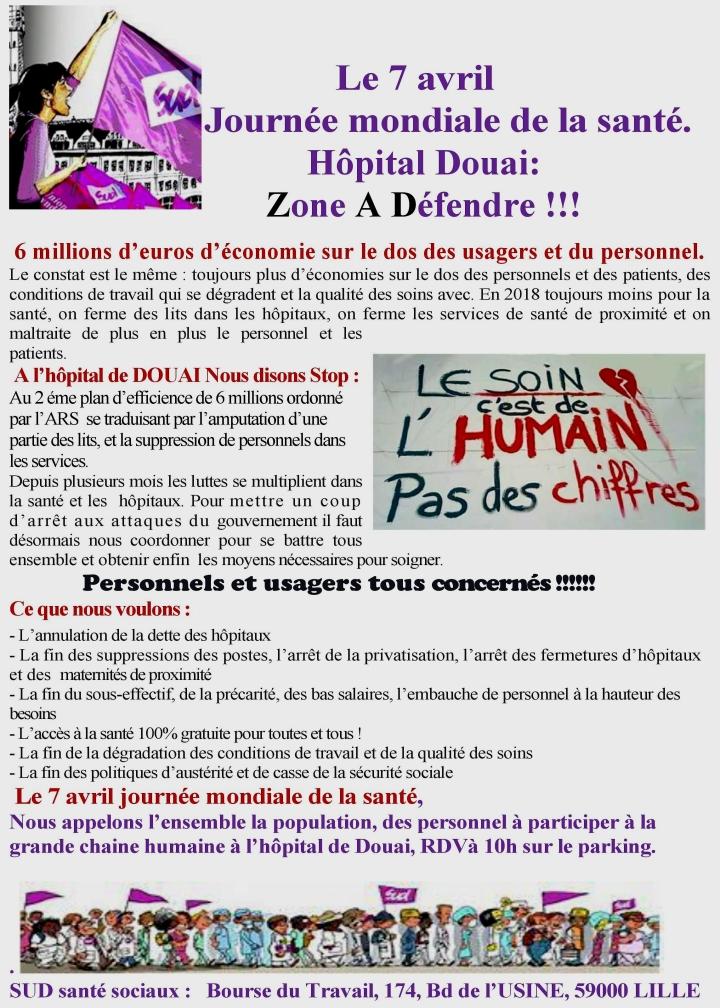 défense de l'hôpital de Douai (7 avril 2018)