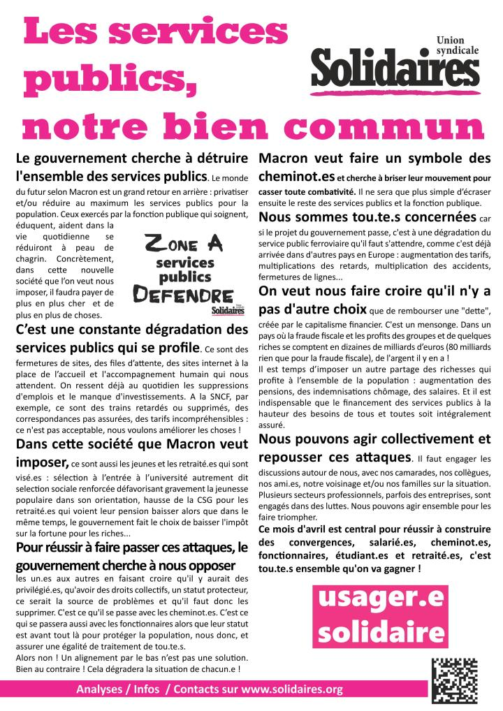 les services publics, notre bien commun (tract de Solidaires - avril 2018)