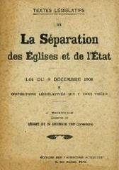 La séparation des Églises et de l'État (loi du 9 décembre 1905)