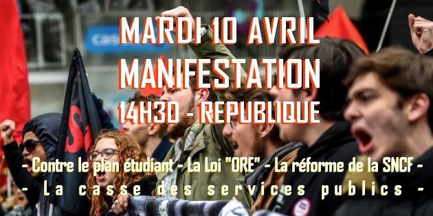 manif-étudiante-Lille-10avril2018
