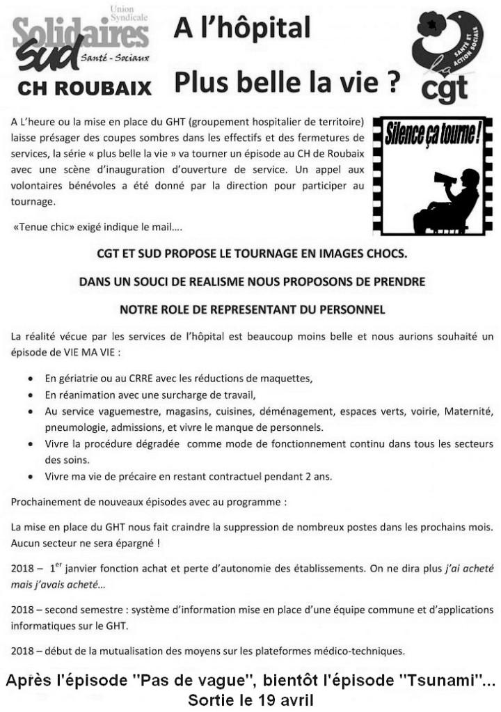 tract SUD et CGT de l'hôpital de Roubaix (avril 2018)