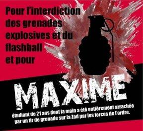 interdiction grenades explosives et flashballs + soutien à Maxime
