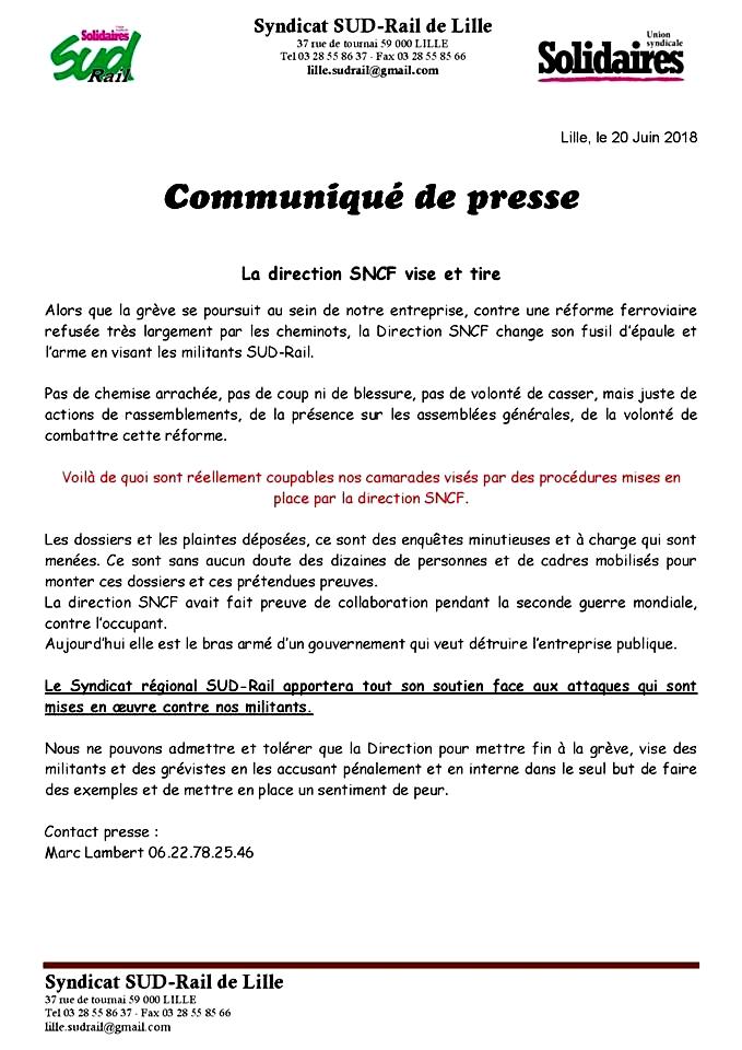 communiqué de presse SUD Rail Lille 20 juin 2018