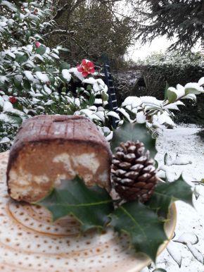 bûche glcée aux marrons dans jardin enneigé