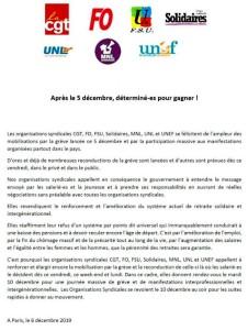 appel intersyndical à la grève pour le 10 décembre 2019