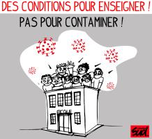 des conditions pour enseigner pas pour contaminer (visuel de SUD éducation 93)