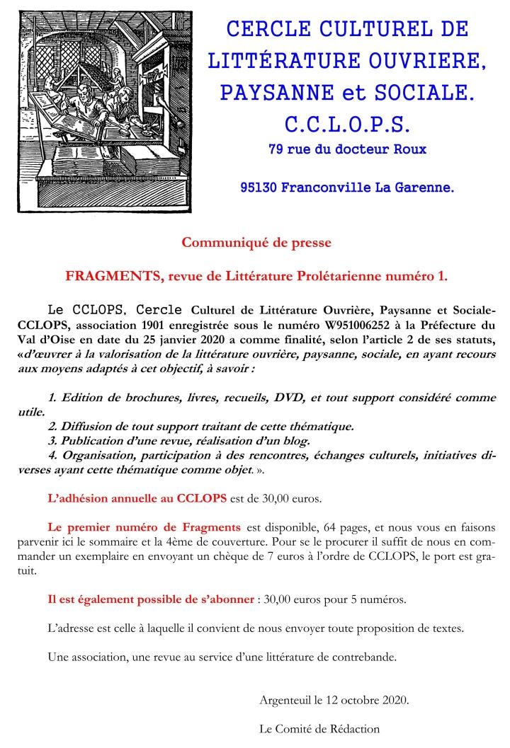 Fragments - numéro 01 - page 01 du communiqué de presse de présentation