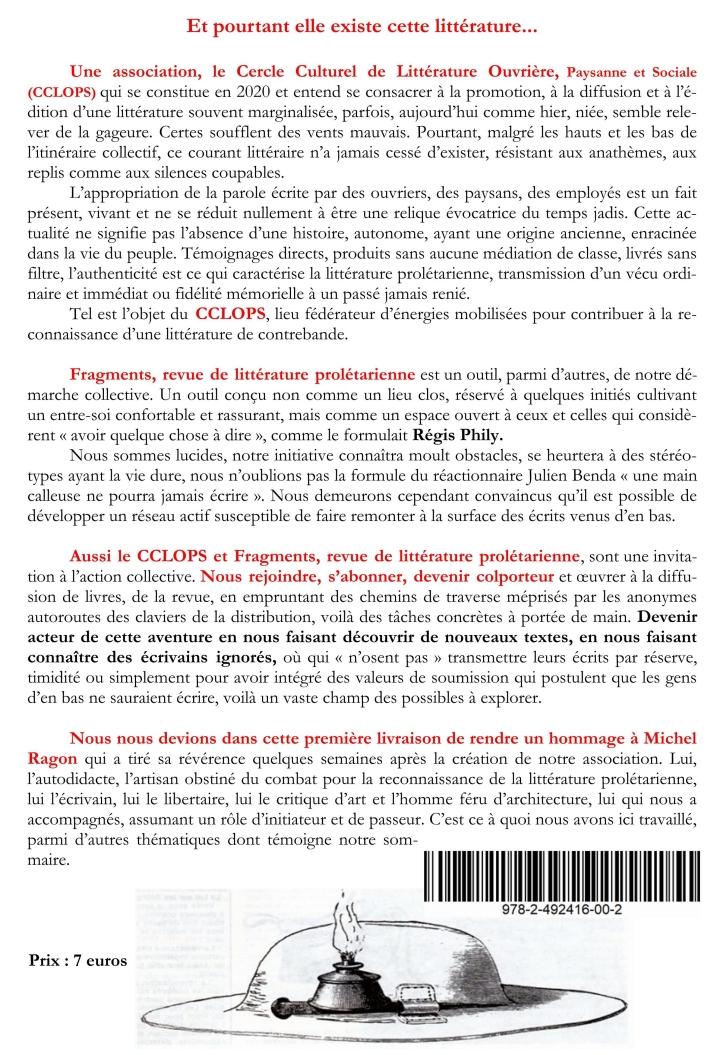 Fragments - numéro 01 - page 03 du communiqué de presse de présentation