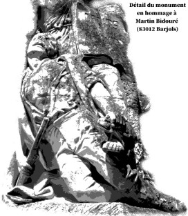détail du monument en hommage à Martin Bidouré (83012 Barjols)