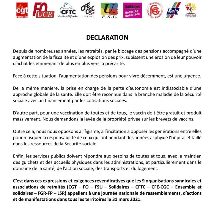 déclaration orgas retraitées pour 31 mars 2021