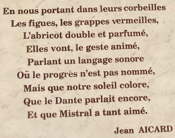 poème de Jean Aicard sur les fruits d'été figurant sur une sculpture située cours Lafayette à Toulon (photo prise par Eric Dussart)